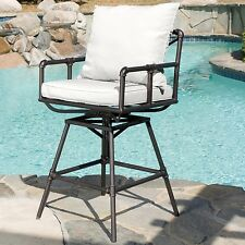 Outdoor Barstool For Patio With Gray Cushions Adjustable Black Iron Chair S