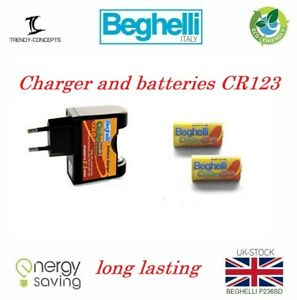 Beghelli Carica500 3V Charger Cr123 Rechargeable (500+Times) (Lithium) Battery