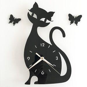Orologio da parete con gatto e farfalle - dim. 32x18cm, colore nero