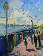JOSE TRUJILLO ORIGINAL Oil Painting IMPRESSIONIST PIER SEASCAPE SAILBOATS COA
