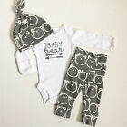 3PCS Set Newborn Baby Girls Boy Tops Romper +Long Pants Hat Outfits Clothes Set