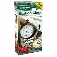 DOUBLE DUAL SIDED RAILWAY STATION CLOCK VICTORIAN STYLE GARDEN INDOOR / OUTDOOR