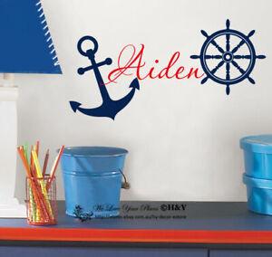Steering Wheel Anchor Custom Personalised Name Wall Stickers Nursery Decor Art