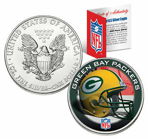 GREEN BAY PACKERS 1 Oz American Silver Eagle $1 US Coin Colorized NFL LICENSED