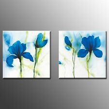 FRAMED Large Canvas Print Painting Blue Flower Picture Modern Wall Art Decor-2pc