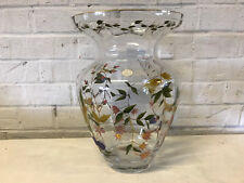 Romanian Crystal Clear Art Glass Vase w/ Painted Enamel Floral Decoration