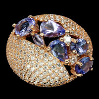 Unheated Pear Blue Tanzanite 6x4mm Cz Rose Gold Plate 925 Sterling Silver Ring