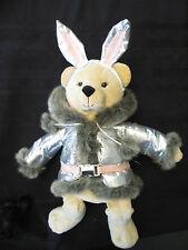 """Nwt Bath & Body Works Snow Bunny Plush Bear 14"""" Faux Fur Teddy Silver Jacket"""