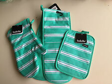 Green Butcher Stripe Pot Holder, Oven Glove and Double Oven Glove Set by Ladelle
