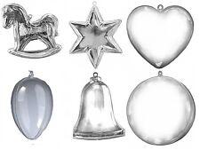 12 Clear Plastic fillable Ornament favors egg horse ball star bell heart 2 each