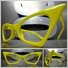 CLASSIC VINTAGE RETRO CAT EYE Style Clear Lens EYE GLASSES Yellow Fashion Frame