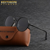 KEITHION HD Vision Aluminum Polarized Men Women Sunglasses Round Driving Eyewear
