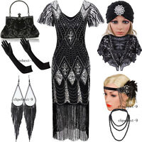 1920s Flapper Dress Evening Gowns Party Cocktail Wedding Bride Great Gatsby 2-20