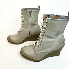 Doc Martens Womens 8 Gray Leather Boots Heels Modern Classic Casual