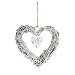 Rustic Grey Willow Wicker Hanging Heart Wreath Home Wedding Christmas Decorate