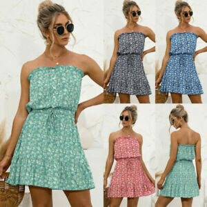 Womens Bardot Floral Boho Mini Dress Ladies Summer Beach Holiday Flared Sundress