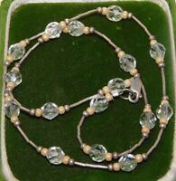 Vintage Sterling Liquid Silver 925 Crystal Facetd Beads Wired Necklace 1e 123