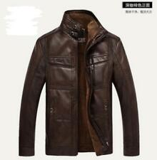 Men's Warm Leather Fur Lining Jacket Coat Outwear Trench Parka Winter Chic Ths01