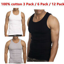 3-12 Packs Mens 100% Cotton Tank Top A-Shirt Wife-Beater Undershirt Ribbed Color
