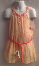 ZARA GIRLS NWT Peach Toddler Dress 104 cm 3/4 Belted Neon Embroidered Trim $29