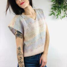 Essentials Vintage Wool Sweater Vest Womens Medium Pastel Striped V-Neck