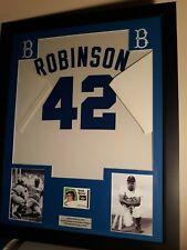 Jackie Robinson Framed Jersey Brooklyn Dodgers Game Used Card Baseball Wow Lqqk