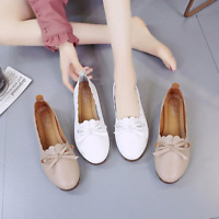 Womens Round Toe Flats Bowknot Soft Bottom Casual Loafer Slip On Comfy Lady Shoe