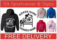 KIDS HORSE RIDING HOODIE PERSONALISED CUSTOMIZED GILDAN  S-XL