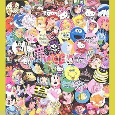 100 Precut assorted BOTTLE CAP IMAGES Variety 1 inch discs Children themed