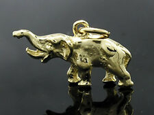 C018 Genuine 9K SOLID Yellow Gold Detailed Skulpted Elephant Charm 3D +jumpring