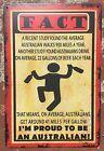 Australian Facts Vintage Retro Metal Tin Sign Plaque Garage Bar Pub Club Home De