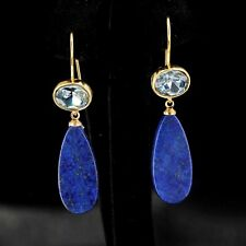 orecchini Dorato Ovale Cristallo Blu Goccia Piatto Lapislazzuli Semplice QD3