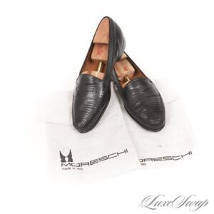 Moreschi Made in Italy Black Leather + Lizard Exotic Penny Loafers Shoes 11.5 NR