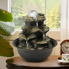 8.3 Inch Spinning Rock Cascading Zen Meditation Tabletop Water Fountain with LED
