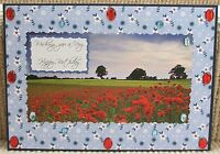 Luxury Handmade Personalised Large A4 BIRTHDAY CARD Poppy Fields Delight