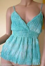 From Look~Jade Green Elasticated Ruching Strappy Top~  Size 10 ~(R1)