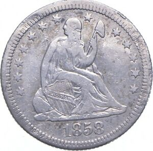 TOUGH - 1858 Seated Liberty Quarter - Early US Type Coin - Historic *270