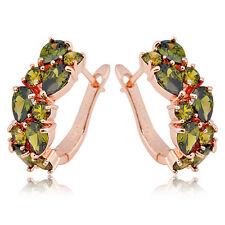CZ Green Peridot Hoop Cubic Zirconia Drop Earrings Lady's Gift  Rose Gold Filled