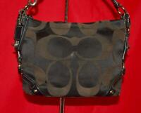 COACH Black CARLY Sateen Patent Leather Hobo Shoulder Shopper Purse Bag 13009