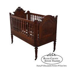 Antique 19th Century Walnut American Renaissance Revival Baby Doll Crib