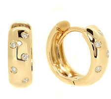 FINE DIAMOND HUGGIES HOOP EARRINGS HIGH-POLISHED 14K YELLOW GOLD