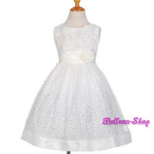 Silver Dots Scoop Wedding Flower Girl Dress Pageant Party White Size 2T-11 FG278
