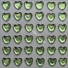 170 x 6mm Pale Green Heart Rhinestone Diamante Stick on Adhesive GEMS Diamonte