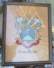 VTG Crowe Martin Coat of Arms Hand Painted Auxilium Meum A Domino Framed Print