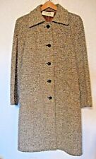 Jaeger Wool Coat Sz. 10 Green Brown Tweed 2 Pockets Ex. Condition