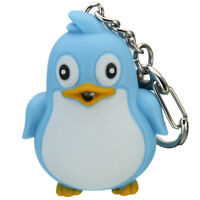Cute Penguin LED Light with Sound Key Chain Key Ring Torch Xmas Gift