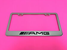 AMG - STAINLESS STEEL Chrome Metal License Plate Frame w/Screw caps 09-13
