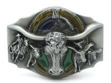 Boucle de Ceinture Buckle 3d flics crâne rodeo western cowboy Langhorn boeuf (g1)
