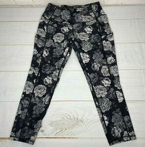Torrid Womens Leggings Size 00 Cropped Active Black White Floral Nylon Spandex