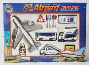 RARE VINTAGE 90'S WELLY DIE CAST AIRPORT PLAYSET 12 PCS PLANE BUS CAR NEW !